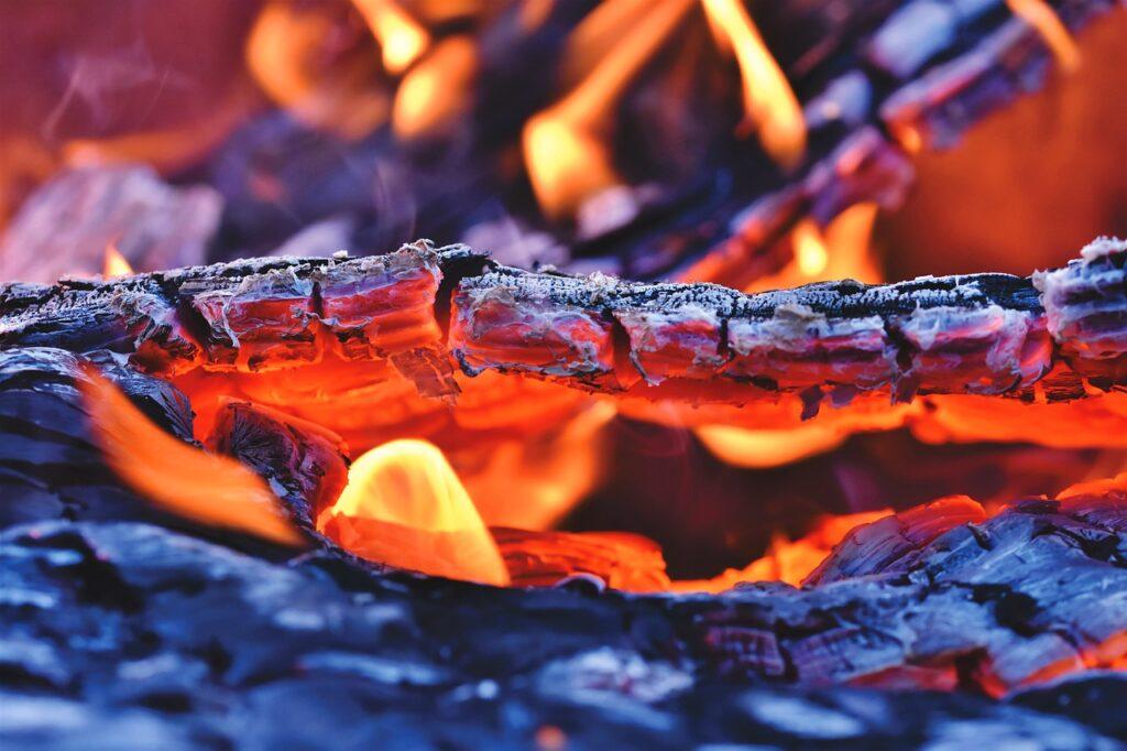 fire, fireplace, embers